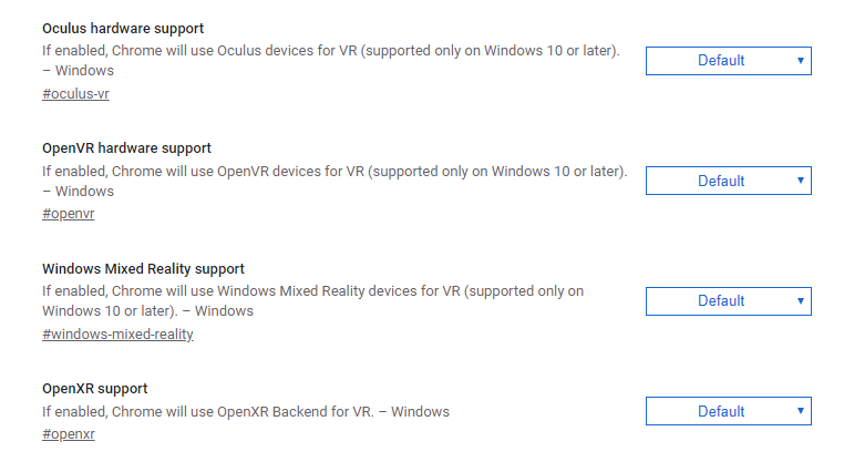 Various VR runtime flags on the about:flags page
